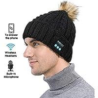 Xiaoyue Bluetooth Punto Cap Beanie Hat Invierno Inalámbrico Auriculares De Música para Correr Esquí De Interior Y Al Aire Libre Actividad, Hombres Mujeres,Black