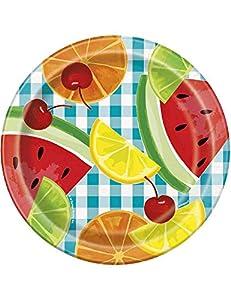 Unique Party 21034 - Platos de papel para picnic de verano, 18 cm, 8 unidades