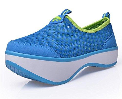 LDMB Frauen-Schuhe postpartale Körper-Bildhauerkörper-Trainingsschuhe Net-Gesichts-Ferseschuhe Lendenwirbel-Korrekturschuhe Blue
