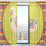 Mnsruu Voilage Voilage Ethnique Llama Alpaga Doux Rideaux pour Chambre Salon 140 cm x 198 cm 2 Panneaux