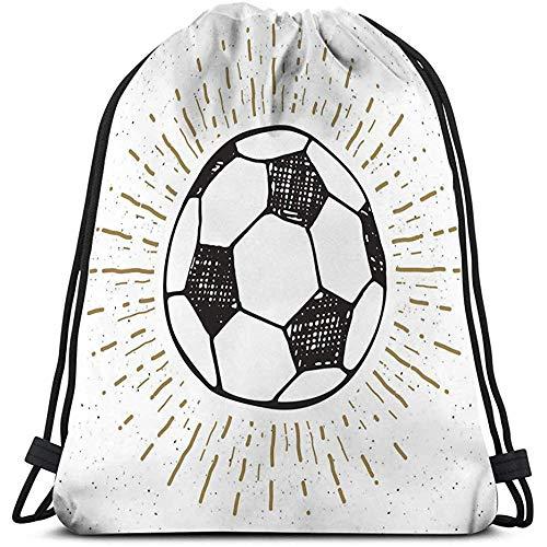 Baile Deporte Gimnasio Ligero Bolsas con cordón Saco Mochila Etiqueta Vintage Dibujado a Mano fútbol...