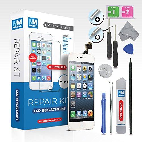 MMOBIEL® LCD für iPhone 5 (Weiss) Display Front Glas Touchscreen Ersatz Digitizer Premium komplett Set mit Tool Kit + Screen Protector (Schutzglas) und einfacher Profi Anleitung