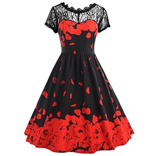 feiXIANG Damen Mädchen Blumendrucken Kleid Kurzarm Party Kleid Vintage kleider Frau gedruckt Spitze Kurzarm Kleid Clubwear (3XL, Rot) (Spandex Knie-länge Shorts)
