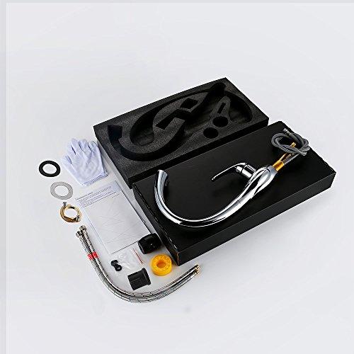 Homelody 360° drehbar Wasserhahn mit Ausziehbar Brause Armatur Küche Mischbatterie KüchenarmaturSpültischarmatur Spültischbatterie Küchenmischer - 6