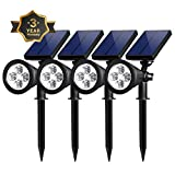 Solar Spot Lights Outdoor, Waterproof 2-in-1 Outside Solar Powered Spotlight Led Lighting Auto On/Off for Pathway, Walkway, Patio, Yard, Garden and Landscape (4-Pack)