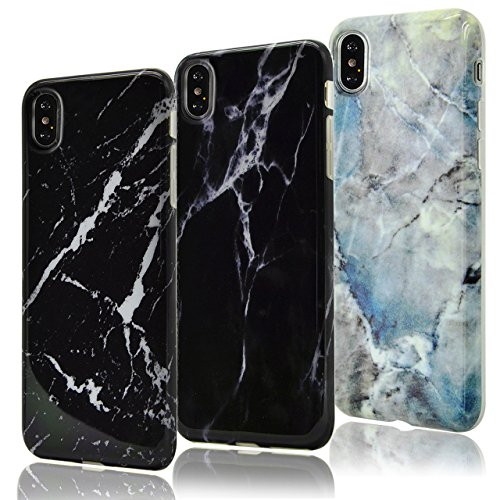Cover per iPhone X Trasparente ,Cover per iPhone 10, Bonice Crystal Clear Glitter di Bling Custodia Ultra Slim Morbido TPU Gel Silicone Protettivo Skin Protettiva Shell Bumper Case Cover Anti Slip per Marble-Cover-12