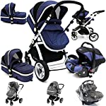 i-Safe System - Navy Trio Travel System Pram & Luxury Stroller 3 in 1 Complete with Car Seat + Rain Covers