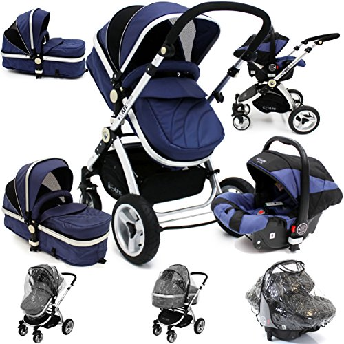 i-Safe System – Navy Trio Travel System Pram & Luxury Stroller 3 in 1 Complete With Car Seat + Rain Covers 51TFBM28 2BFL