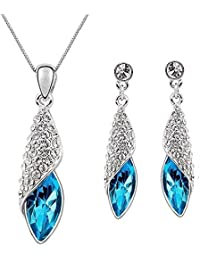 Kaizer Jewelry Combo Of Pendant Sets With Earring Blue Sterling Silver Plated Aaa High Quality Austrian Crystal...