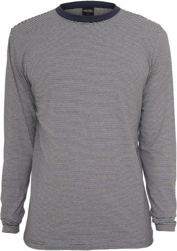 Urban Classics Herren Oberteile / Hoody Fine Stripe Button Jersey navy/weiß