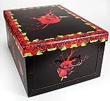3 x Aufbewahrungsbox Box Ordnungsbox Pappe Karton Deko-box mit Deckel und Hand-griff Stapelbox Dekokarton im Set 51x37x24 cm - schwarz rote Rosen