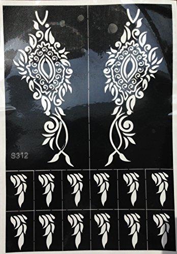4 Sheets Tattoo Body Art Mehndi Schablonen Henna Designs Set Tally für Körpetbemalung