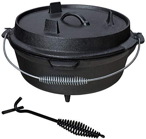 Grillmaster Gusseisen Dutch Oven Feuertopf Grill Lagerfeuer Topf mit Deckelheber eingebrannt 5 Größen zur Auswahl Set, Göße/Set:6 L