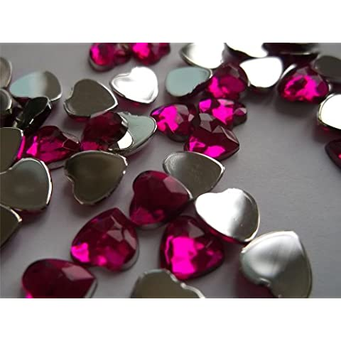 –125x 8mm a forma di cuore in plastica effetto diamanti (strass) per gioielli arte e artigianato, Acrilico, rosa scuro, 8 mm