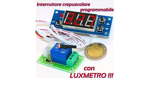 INTERRUTTORE CREPUSCOLARE PROGRAMMABILE CON LUXMETRO 12V sensore fotoresistenza
