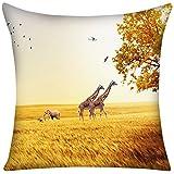 Violetpos Kissenbezug Herbst Afrika Prärie Giraffe Home Decor Werfen Kissen 50 x 50 cm