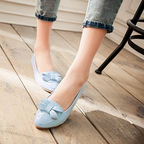 COOLCEPT Damen Bequemen Slip on Maechen Schuhe Sweet Bow Pumps Flach Blau