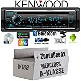 Mercedes A-Klasse W168 - Autoradio Radio Kenwood KDC-BT530U - Bluetooth | Spotify | iPhone | Android | CD/MP3/USB - Einbauzubehör - Einbauset