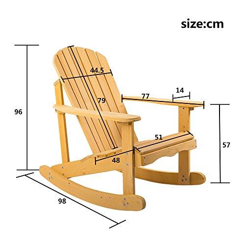 Leisure Zone � Rocking Adirondack Chair Wooden Rocking Armchair - Outdoor Garden Furniture
