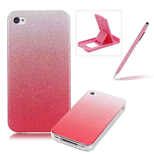 iPhone 4S Hülle Weiches Silikon Glitzer Schutzhülle Tasche Case,iPhone 4 Hochwertig Leicht Gummi Schutz Hoch Handyhüllen Schale Etui,Herzzer Modisch Luxus Silikon Bunt Hülle [Farbverlauf Gradient Farb Rosa
