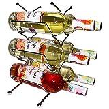 BELLE VOUS Portabottiglie Vino-Dimensioni (A 34 x L 25 x P 14.5 cm) - Contiene 6 Bottiglie Standard Vino - Portabottiglie Acciaio Inossidabile Lucido - Espositore Vino -Teca Vino Salvaspazio
