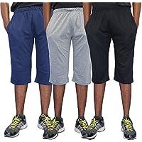 Elk Men's Cotton 3/4 Capri Shorts Trouser (XL) Combo Set of 3 Colour