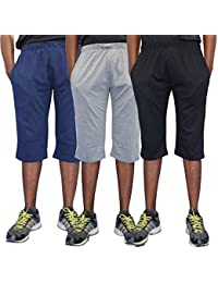 ELK Mens's Cotton Three Fourth Capri Shorts Trouser Clothing 3 Color Set Combo