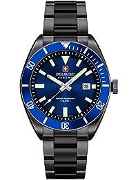 Swiss Military Hanowa 06-5214.30.003 - Reloj analógico de cuarzo para hombre, correa de acero inoxidable chapado color negro