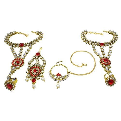 Banithani Définir Mariage Bollywood Traditionnel Cadeau De Bijoux Collier De Mariée Pour Les Femmes blanc rouge