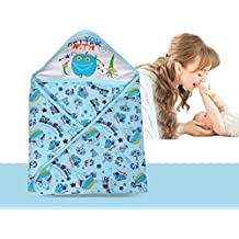 AVABY Baby Wrapper with Hood ,Soft Cotton Blanket Quilt,Sleeping Bag (Blue)