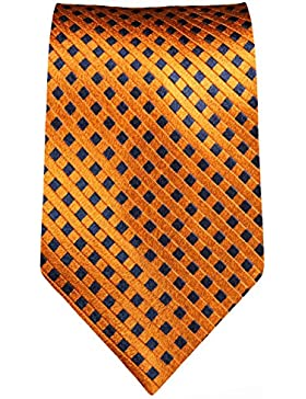 Paul Malone corbata de seda ancho 6 cm (Normal largo y extra largo) naranja bronce azul
