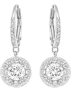 Swarovski Damen-Durchzieh Ohrringe Platiniert Kristall transparent Rundschliff - 5142721