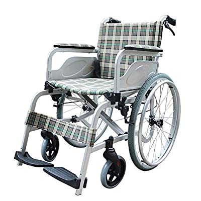 Shisky Elderly aluminum alloy wheelchair folding lightweight travel patient disabled trolley portable