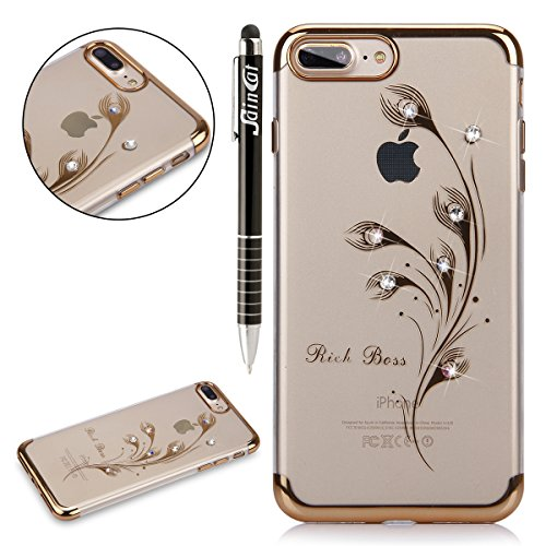 Custodia iPhone 7 Plus, iPhone 7 Plus Cover Silicone, SainCat Cover per iPhone 7 Plus Custodia Silicone Morbido, Custodia Bling Glitter Strass Diamante Silicone 3D Design Ultra Slim Silicone Case Ultr Piume di Pavone #1