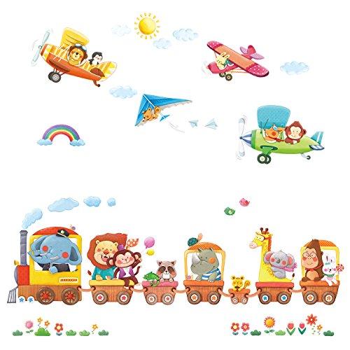 Decowall dat-1406a1506b treno con animali e biplani adesivi da parete decorazioni parete stickers murali soggiorno asilo nido camera da letto per bambini