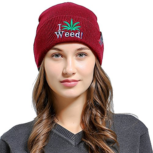Belsen Damen ich Unkraut Mama hiphop Beanie Strick Mütze Skull Cap (Rotwein) (Unkraut Rot Hat)