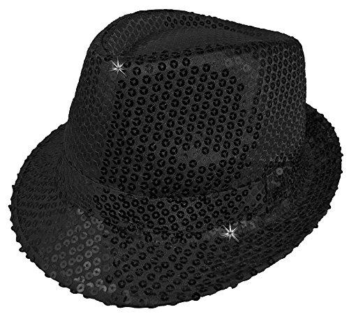 Das Kostümland Glitzernder Popstar Hut mit Pailletten - -