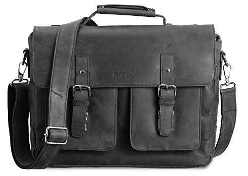 Packenger Kolbjorn Messenger bis 15 Zoll aus Leder Umhängetasche, 38 cm, Schwarz (Messenger Bag Schwarz Kunststoff)