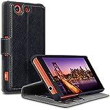 Terrapin Delux Leder Tasche Case Hülle im Bookstyle mit Standfunktion Kartenfächer für Sony Xperia Z3 Compact Hülle Schwarz