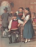 Rickersbach/Baden - 2 Frauen und 3 Männer in landesüblicher Tracht. Ansicht in einer Stube mit Kachelofen. [Grafik]