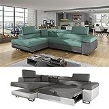 Moebel89 Moderne Couch Anton in grau/türkis mit Schlaffunktion, Farbe wie abgebildet, Ottomane links/Ecksofa, Eckcouch, Wohnlandschaft, Schlafsofa in BxTxH: 275 cm x 202 cm x 90 cm
