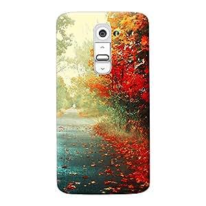 INKIF Painting Designer Case Printed Mobile Back Cover for LG G2(Red)