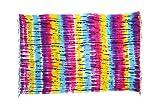 Sarong Pareo Dhoti Lunghi ca. 170cm x 110cm Lila Fuchsia Gelb Türkis mit Batik Motiv Tie Dye Handgefertigt und Kokosnuss Schnalle im Herz Design