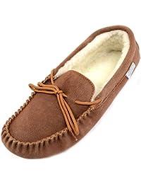 SNUGRUGS Wool Lined Suede Moccasin with Soft Sole, Zapatillas de Estar por Casa para Hombre