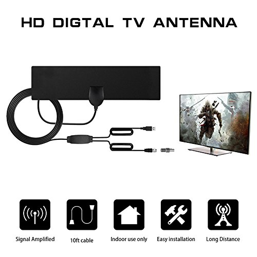 HDTV Digtal Antenna,10 feet Digital Freeview HDTV Indoor Antenne mit abnehmbarer Verstärker Signal Booster Indoor TV Antennas, superdünn und hohe Empfang, Super lange cable, tragbar, Schwarz, tv fox