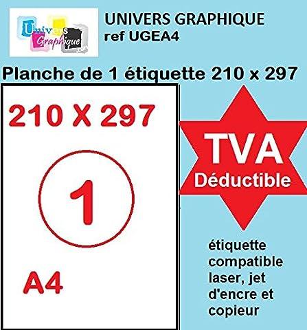 20 feuilles A4 papier adhésif blanc - Étiquette autocollante 210x297mm - planche adhésive permanente de 1 etiquette marque UNIVERS GRAPHIQUE- UGEA4 FACTURE AVEC TVA