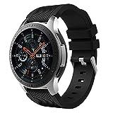 MuSheng For Samsung Galaxy Watch 46MM Armband Band,Fashion Fitness Weicher Silikon Ersatz Band Bügel Armband für Samsung Galaxy Watch 46MM (Schwarz)
