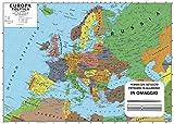 Carta geografica murale europa 100x140 scolastica bifacciale fisica e politica + OMAGGIO PENNA E ASTUCCIO IN METALLO