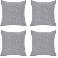 RENMEI Cushion Cover Soft Linen Effect with Conceale Zip for Sofa 18 x 18 Inch(45cm x 45cm) Grey Set of 4