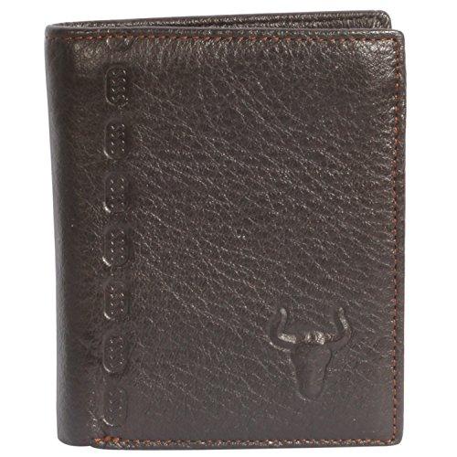 HJ Herren Geldbörse aus echtem Leder, mit Handgefühl, Tiefkaffeefarben - Schwarz - Einheitsgröße : 83.31 cm * 10.67 cm * 1.27 cm -